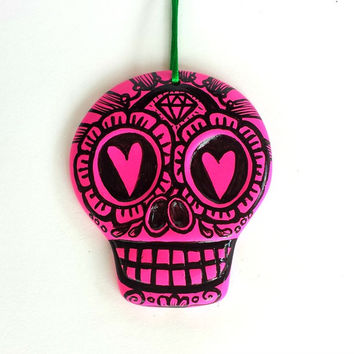 Large Sugar Skull Ornament Painted Day of the Dead Ceramic Neon Pink Flowers Hearts Dia de los muertos Wall Decor - READY TO SHIP
