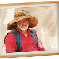 Grandparent Gift - Man portrait, Portrait from photo, Personalized paintings of grandparents, Grandpa paiting