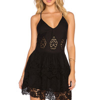 LIV Alexa Peplum Tiered Dress in Black