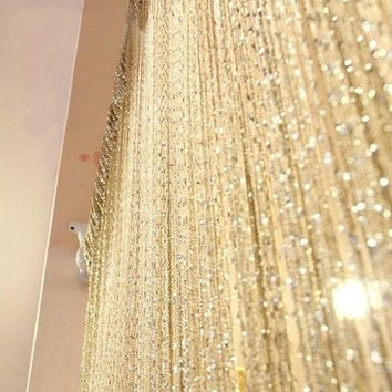 Stvewrtle 100cm x 200cm Divider Curtain  String Curtain Tassel Curtain Door Window Panel Room Valance