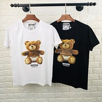 Moschino 2020 New Diaper Bear Print Round Neck Half Sleeve Shirt