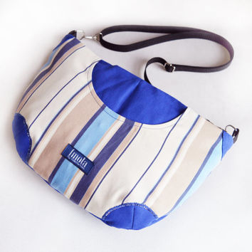 Striped blue purse crossbody bag concealed carry purse messenger bag canvas bag shoulder bag hobo bag royal blue purse beige strips sapphire