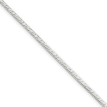 1.4mm, 14k White Gold, Octagonal Snake Chain Necklace, 16 Inch