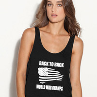 back to back world war champs ladies flowy tank top tee