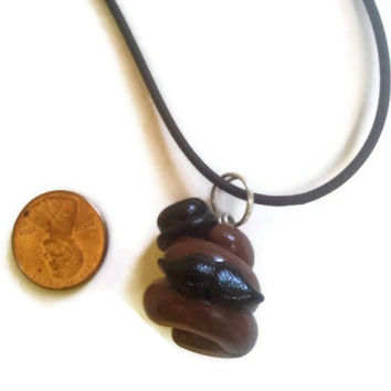 Dapper Poop Necklace, Gentleman Poo charm, Like a Sir, mustache poop, gag gifts, polymer clay charms, poop jewelry, poo charms,