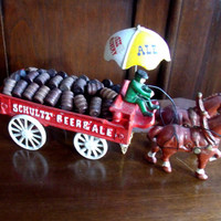 Vintage Cast Iron Beer Wagon And Horses With Driver
