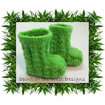 Bambooties! - Knitting Pattern Sizes 3 months to 12 months, knit moccasin, Newborn booties Baby Clothes Baby accessories bamboo baby booties