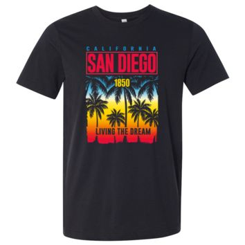 San Diego Living The Dream Asst Colors Mens Lightweight Fitted T-Shirt/tee