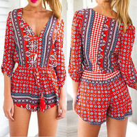 Red Printed V-Neck Mini Romper