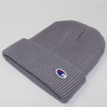 Champion Winter Purple Color Embroidery Men And Women Couples Knitted Hats Grey G
