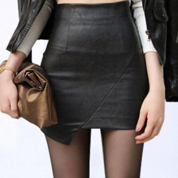 new Irregular split pu faux leather skirt sexy mini pencil skirt women's skirts