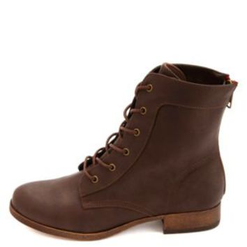 Colored Zipper Lace-Up Combat Boots by Charlotte Russe - Brown