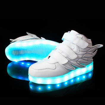 25-37 Size/ USB Charging Basket Led Children Shoes With Light Up Kids Casual Boys&Girls Luminous Sneakers Glowing Shoe enfant