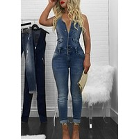 Blue Buttons Cut Out Pockets Denim Backless Casual Long Jumpsuit
