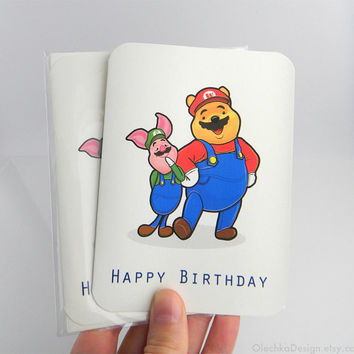 SuperMario Pooh Birthday Card, Blank Inside, Geek, Gaming