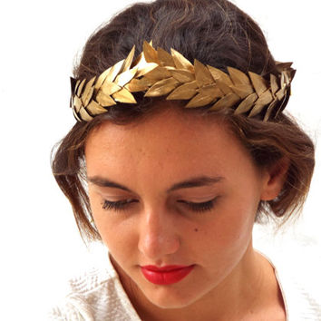 Gold leaf Crown, Gold Headband, Woodland Headpiece,  Greek Goddess, Flower crown, Hair Wreath