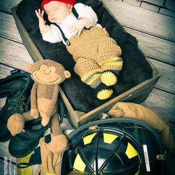 Baby Firefighter Fireman Outfit, Crochet Diaper Cover Set w/suspenders & boots, photography prop, Newborn, 0-3, Fireman Helmet, Fire pants