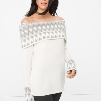 White House | Black Market Off-The-Shoulder Fair Isles Sweater