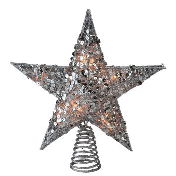 """12"""" Glittering Silver Christmas Star Tree Topper - Clear Lights"""