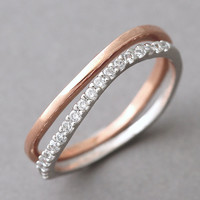 Stackable Sterling Silver Wavy Wedding Ring Bands Set from Kellinsilver.com – curved wedding ring, stackable eternity ring, wedding ring set