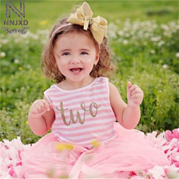 Mini Summer Baby Frocks Girl Party Wear Kids Clothes Infant Baby Girl Dresses First Birthday Outfits Newborn Baby Baptism Dress