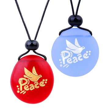 Frosted Sea Glass Stones Adorable Dove Peace Pigeon Love Couples BFF Set Amulets Sky Blue Red Necklaces