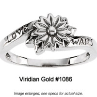 "Sterling Silver ""Love Waits"" Daisy Purity Ring #1086"