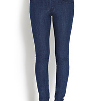FOREVER 21 Buttoned High-Waisted Jeans Indigo 30