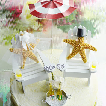 CUSTOM Wedding Cake Topper ~ Miniature Adirondack Chairs  ~ Sugar Starfish Bride/Groom ~ Beach Wedding Decor ~ Choose Your Own Beach Extras