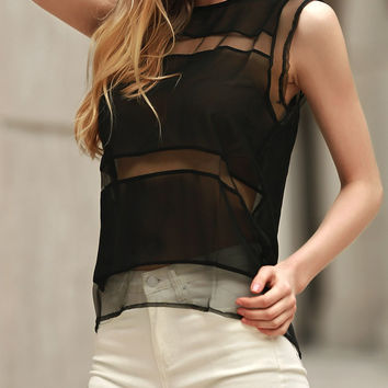 Voile Splicing Sleeveless Jewel Neck Tank Top