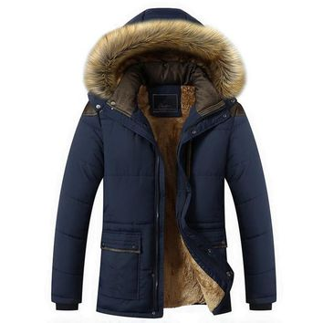 Hot warm men's casual jackets coat plus cotton coat Overcoat