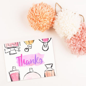 Hand Painted Perfume bottles Blank Thank you card template digital printable instant download file Luxury Pink colorful her greeting card