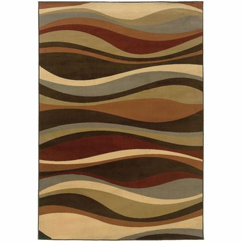 Darcy Brown Green Abstract Waves Contemporary Rug