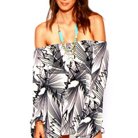 Black Ivory Abstract Tropical Palm Floral Print Off Shoulder Boho Tunic Top Mini Dress