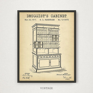 Druggist's Cabinet, Druggist label case Patent, Digital Download, Pharmacy Decor, Medical Shop Wall Art, Druggist Gift, Vintage Pharmacy Art