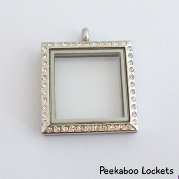 Floating Locket - Large Silver Gemmed Square Stainless Steel 30mm Glass Locket with Cubic Zirconia- Jewelry - Gift for her