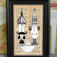The couple: WE are In the same boat, Cute, Digital Print by Moha, Smart Wall Art, Cool Wall Decor, Framed Moha Print, from Budapest
