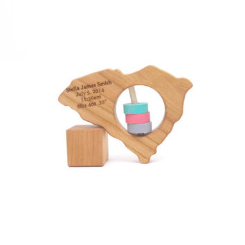 SOUTH CAROLINA Baby Rattle - Modern Wooden Baby Toy - Organic and Natural
