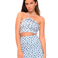 Hartley Halter Crop Top in Ditsy Gingham Blue by Motel