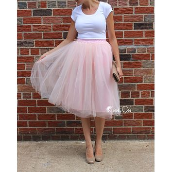 Below Knee Midi Claire Blush Pink Soft Tulle Skirt
