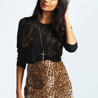 Cathy Leopard Faux Fur and PU Mini Skirt