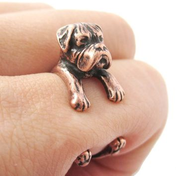 3D Boxer Puppy Animal Wrap Ring in Copper - Sizes 4 to 8.5 from DOTOLY