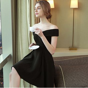 2018 new summer bride wedding toast dress word shoulder slim dress F0473-1 Black