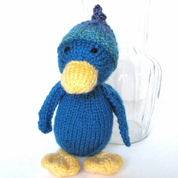 "Hand Knitted Duck, New Baby Gift, Ready To Ship, Stuffed Animal, Farm Animal, Knit Animal Toy Toddler Gift, Knit Toy, Plush Doll 9"" Tall"
