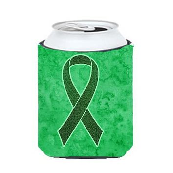 Emerald Green Ribbon for Liver Cancer Awareness Can or Bottle Hugger AN1221CC