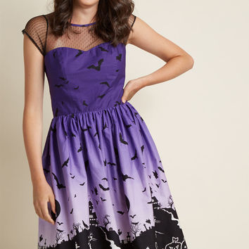 Hell Bunny Haunted Hem Cotton Fit and Flare Dress