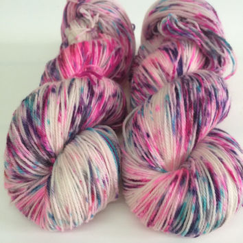 Ultra Soft Merino Superwash  100 grams Party Hop Hand Dyed Yarn