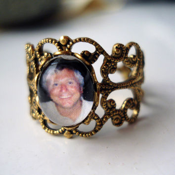 Filigree Ring - Customized with Your Photo in Antique Gold