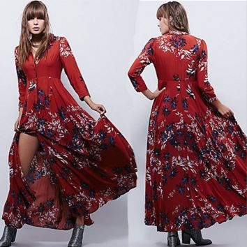 """Free People"" Fashion Retro Multicolor  Print V-Neck Long Sleeve Buttons Cardigan Maxi Dress"