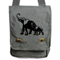 Elephant Messenger Bag Gray Baby and Mom Canvas Animal Messenger Bag